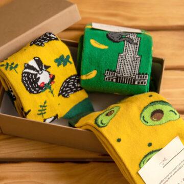 Socken Box: 00Dachs und King Kong auf der Suche nach der Avocado.