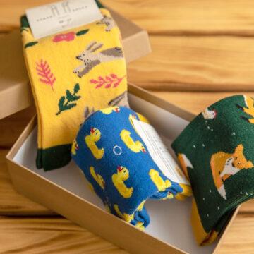 Socken Box: Fuchs, Du hast die Ente gestohlen. Das Häschen ist hinter dir her.