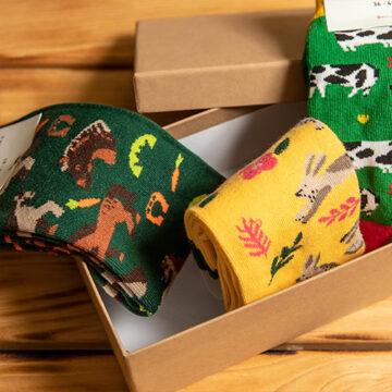 Socken Box: Wo sich Hase, Kuh und Pferd begegnen